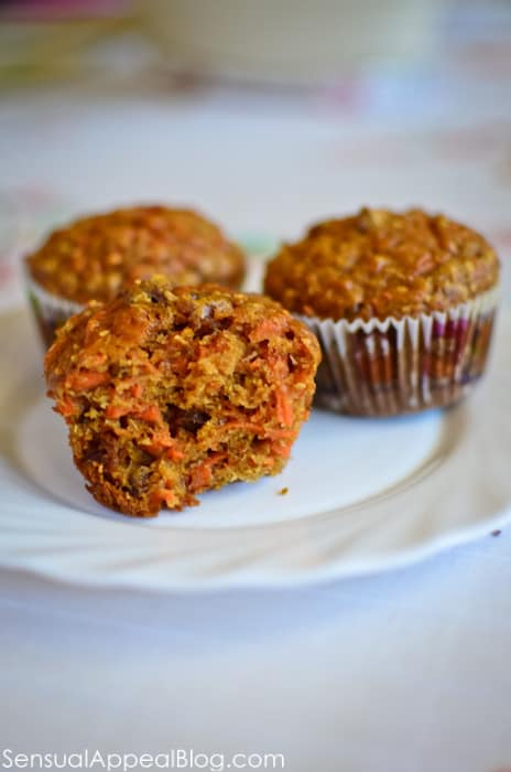 Carrot Raisin Muffins by sensualappealblog.com
