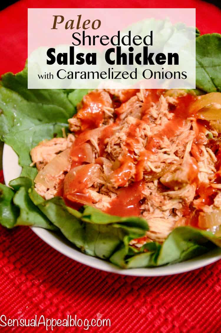 Paleo Shredded Salsa Chicken Boats with Caramelized Onions #joydelivered